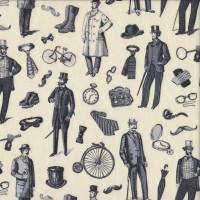 Handsome Victorian Men with Canes Bicycles on Cream Quilting Fabric