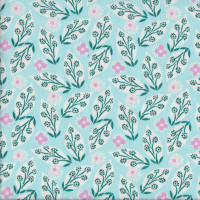 Voyage Pink Flowers Leaves on Celeste Blue Quilting Fabric