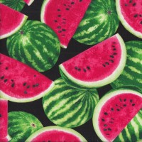 Watermelons and Slices on Black Fruit Kitchen Quilting Fabric