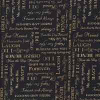 Wedding Marriage Words on Black Love Cherish Honor Quilting Fabric