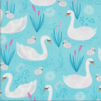 White Swans with Baby Cygnets Quilting Fabric