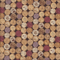 Wine Corks on Dark Brown Vines and Wines Quilting Fabric