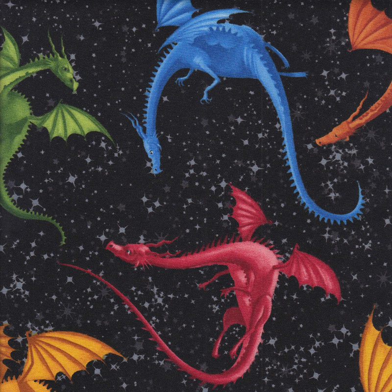 Colourful dragons on black night sky kids boys girls for Dragon fabric kids
