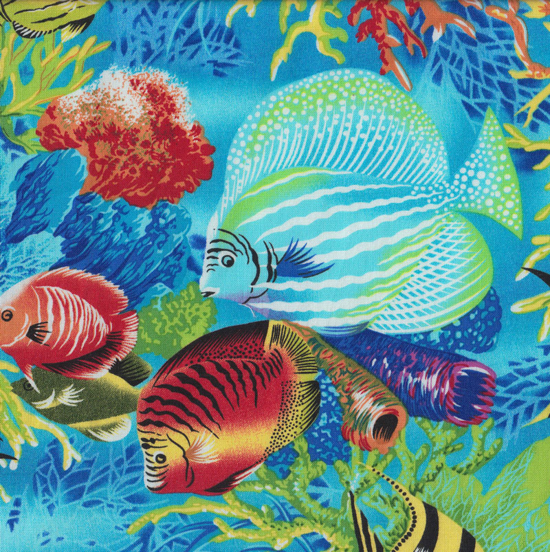 Colourful Tropical Fish Turtles Coral Ocean Quilting