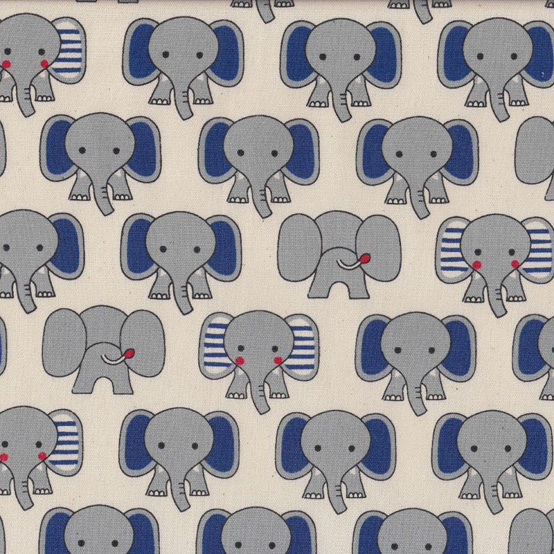 Cute grey elephants on natural animal boys girls kids for Grey childrens fabric