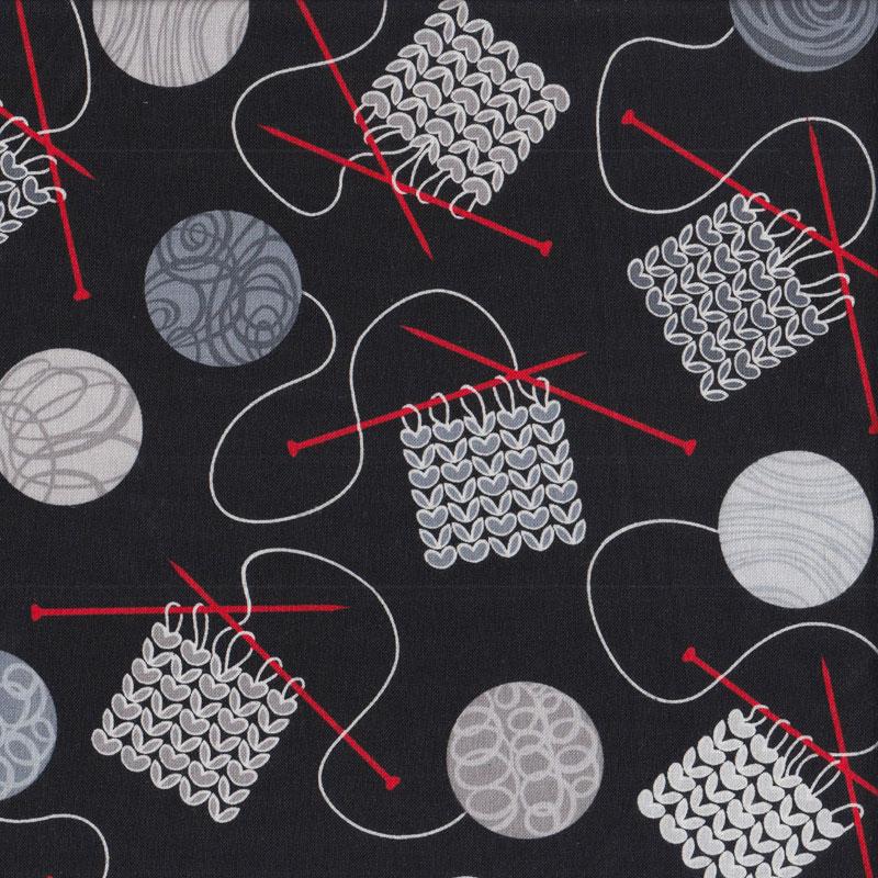 Knitting Needles Balls Of Yarn On Black Quilting Fabric