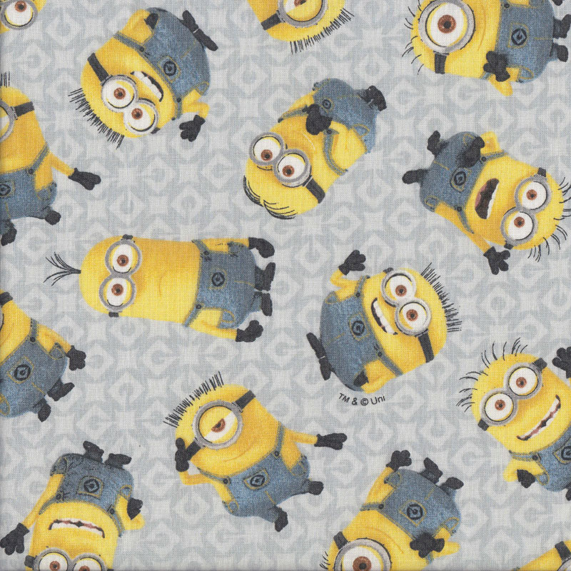 Minions on grey licensed kids girls boys quilting fabric for Grey childrens fabric