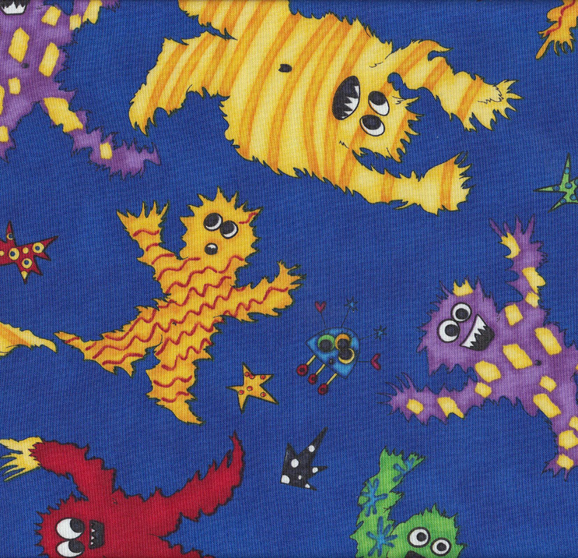 Monster mash on blue boys kids quilt fabric find a fabric for Monster themed fabric