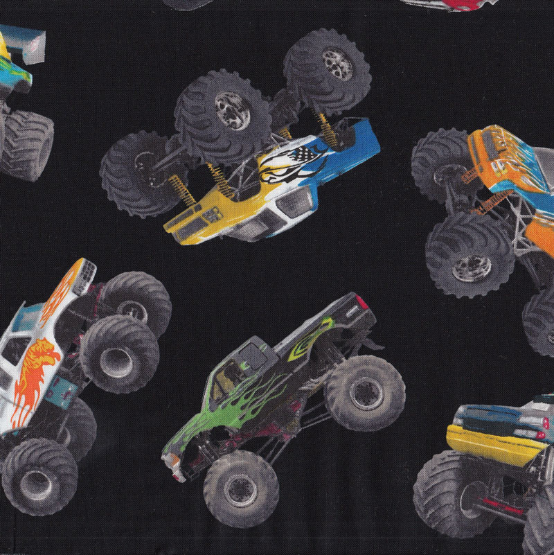 Monster trucks on black wheels tyres boys kids sport quilt for Monster themed fabric