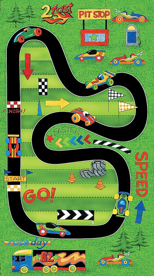 race car track car racing track speed pit stop boys quilt fabric 30403