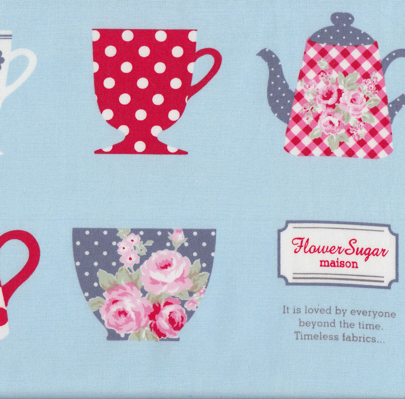 Teacups and teapots on blue tea flower sugar maison fabric for Au maison fabric