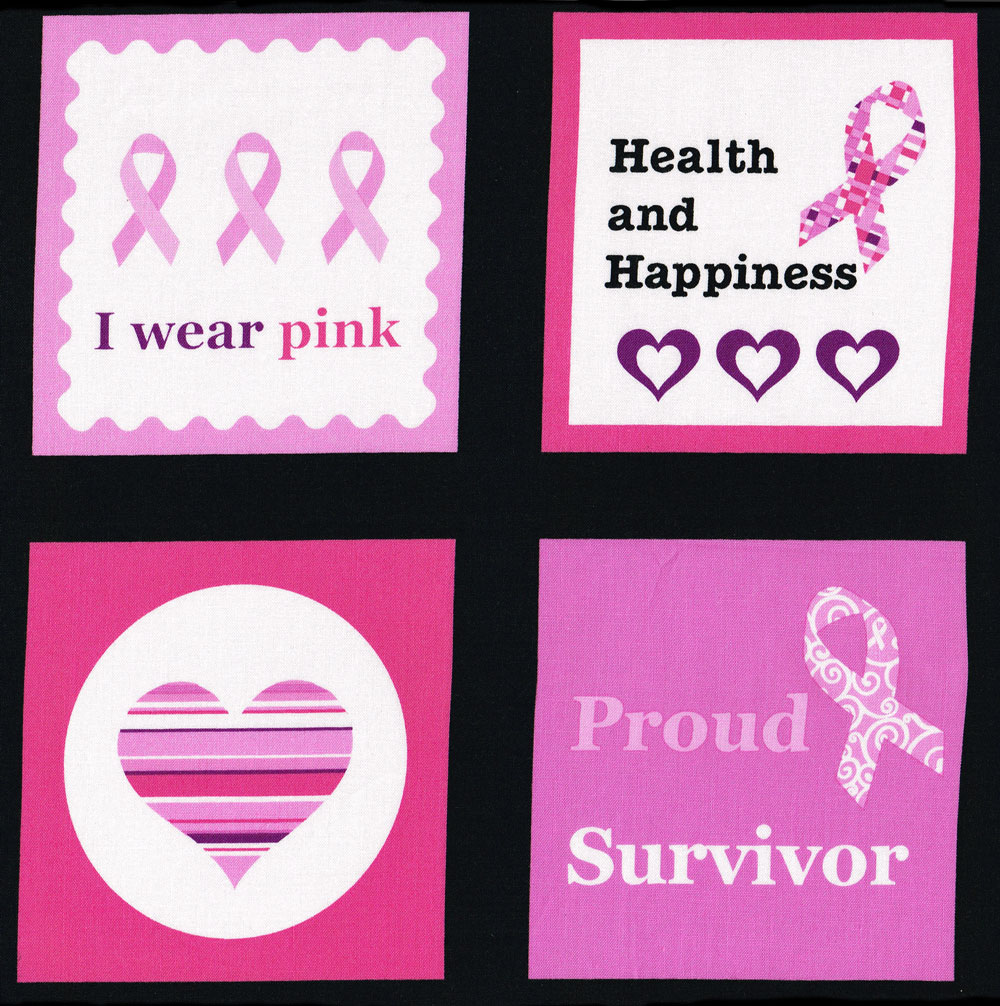 Breast Cancer Ribbon Hearts Think Pink Squares Quilt Fabric