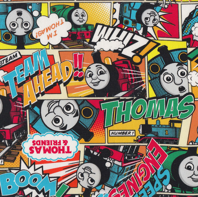 Thomas and friends engine yellow orange boys kids trains for Train themed fabric