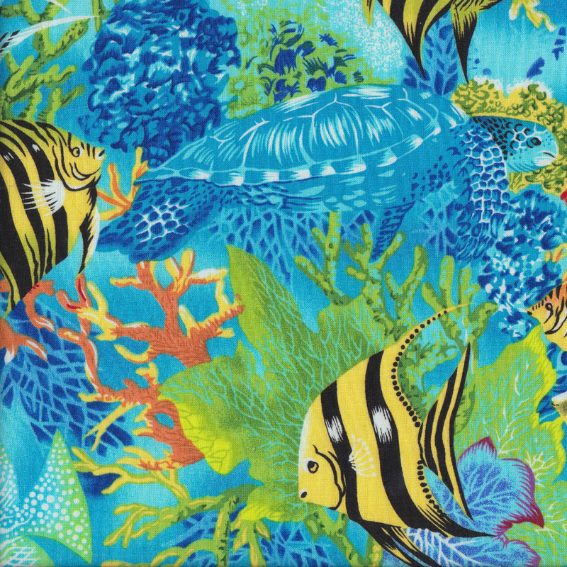 Colourful tropical fish turtles coral ocean quilting for Fish fabric for quilting